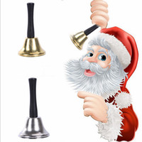 Gold Silver Christmas Hand Bell Xmas Party Tool Dress Up As Santa Claus Christmas Bell Rattle New Year Decoration