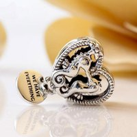 2020 New 925 Sterling Silver Openwork Seahorses Heart Charm Bead Fits European Pandora Style Jewelry Bracelets Necklace