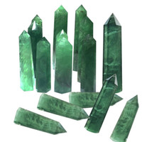 100% Fluorita Natural Cristal De Quartzo Listrado Verde Ponto De Fluorita Hexagonal Varinha Cura Pedra Tratamento De Decoração Para Casa C19021601