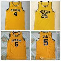 Erkekler Michigan Wolverines 5 Jalen Rose Jersey 4 Chris Webber Jersey 25 Dwight Howard Jersey Üniversitesi Dikişli Kolej Basketbol Jers
