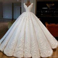 레이스 아플리케 신부 드레스 vestido 드 노비 BC1958와 화려한 V 넥 프린세스 로얄 A 라인 웨딩 드레스