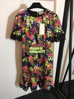 Mulheres Frisadas Flor Impressão Vestido Bordado Crew Neck O High-End Custom Knee-Length Lace Vestidos S-M-L-XL 2019