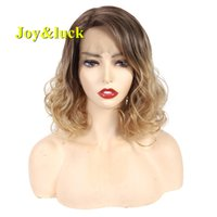 Joy&luck Short Lace Front Synthetic Wigs Culry Brown Ombre B...