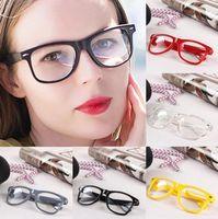 برشام النظارات الشمسية 17 الألوان للجنسين ريترو الشرير المهوس نمط واضح عدسة النظارات البلاستيكية الصلبة اللون نظارات OOA8066
