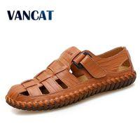 VANCAT Nuevo Verano Hombres Sandalias 2018 Ocio Playa Hombres Zapatos Sandalias de Cuero Genuino de la Alta Calidad Las sandalias de los hombres tamaño grande 39-47