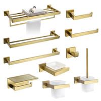 Escovado Toalha Gold Bar Rail Toilet Paper Holder Set Toalheiros gancho Saboneteira WC escova de banho Acessórios de Hardware