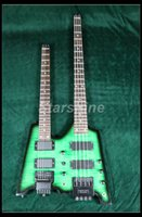 Starshine Bass Guitar YL-DB31 Double Headless Guitar Populer Style Flamed Maple Bass Guitar senza testa verde