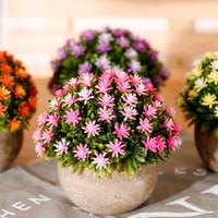 Декоративные цветы венки Искусственные набор Гипсофила Paniculat + керамическая маленькая горшок ваза бонсай поддельный цветок для свадебного сада фермы Deco