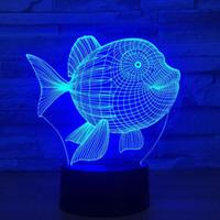 Başucu Masa Gece Işık Balık 3D 7 Renk Dokunmatik Anahtarı LED Işıkları Plastik Abajur 3D USB Elektrikli Gece Lambası Atmosfer Yenilik Aydınlatma