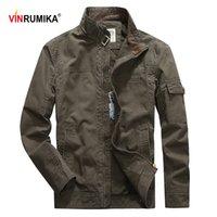 Vestes pour hommes Vinrumika 2021 Europe Automne Casual Marque 100% coton Armée Green Man Spring Kaki Jacket Blue Coat