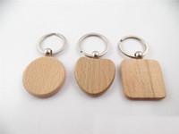 Sıcak Satış 30pcs DIY Blank Ahşap Anahtarlık Dikdörtgen Kalp Yuvarlak Elips Anahtar halkası Ahşap Anahtarlık Yüzük Oyma özelleştirmek