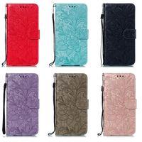 레이스 꽃 패턴 지갑 전화 케이스 아이폰 x xr xs 최대 7 8 플러스 및 삼성 갤럭시 노트 9 S10 S9 플러스 5G A20 A30 A40 A50 A60 A70 케이스