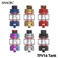SMOK TFV16 Subohm Mesh Tankı Ile TFV16 Örgü Çift Örgü Bobinleri Üst Dolum 9 ml BÜYÜK Kapasiteli V16 Atomizer Pyres Cam Tüp 100% Otantik