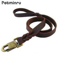 Petminru couro Dog Leash Liberação rápida Pet Dog Leashes Walking Training Leads Collars Harness