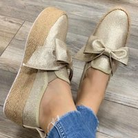 Designer- Nouveau Chaussures Automne Slip On Casual Ladies Canvas Bow ShoeLazy Mocassins Femme