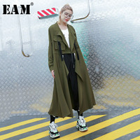 [EAM] 2019 New Autumn Winter Lapel Long Sleeve Army Green St...