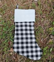 Katoen Buffalo Zwart Plaid Kerstkousen Lege Polyester Linnen Kerstmiskousen Santa Gift Pouch Persoonlijke naam Blanks