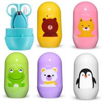 4 stücke Baby Healthcare Kits Baby Nagelpflege Set Infant Finger Trimmer Schere Nagelknipser Cartoon Tier Aufbewahrungsbox für Reise
