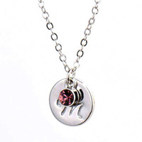 Small Script Initial Disc Charm Necklace Birthstone Charm Si...