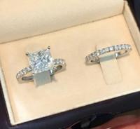 Anillo de compromiso de la boda de plata de la manera de los anillos de color fijó para las mujeres joyería simple del cuadrado del diseño nupcial circón