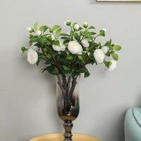 Yeni Çin tarzı Simülasyon Gül Şube Düğün Yolu Giriş Kemer Dekorasyon Flores Sahte Beyaz Güller