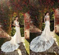 Sexy magnífico encaje sirena vestidos de novia apliques spaghetti correas ilusión retroceso tren vestido de novia vestido de novia vestidos Vestido de Novia