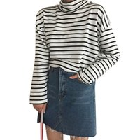 كم طويل الياقة المدورة النساء مطبوعة في مخطط عادية تي شيرت فضفاض البلوز ريجوالر القمم أنثى الملابس M-XL