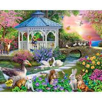 Bricolage pleine place forage au diamant peinture Cartoon Point de croix Swan Garden strass broderie Mosaic Home Décor Full Diamond Point de croix