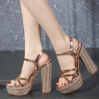 с коробкой 14 см великолепный горный хрусталь свадебные туфли платформы коренастый каблук дизайнер насосы мода роскошный дизайнер женская обувь