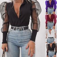 Moda Mulheres Botão Casual ver através shirt blusa de renda Sexy Sheer manga comprida Partido Puff Tops Sexy Party Club Chiffon Clothes