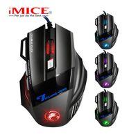 Original iMICE X7 USB Wired Gaming Mouse 7 Tasten 2400DPI LED optische verdrahtete Kabel Gamer-Maus für Computer-Laptop Professionelle Spiel Mäuse
