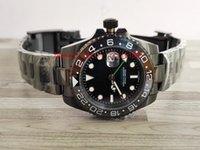 MEJOR venta de hombres de lujo Reloj GMT 40MM Dial negro PVD Cerámica Bisel Asia 2813 Movimiento Automático para hombre Muñeca luminosa