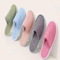 Pure Color Hotel Einweg Hausschuhe Komfortable atmungsaktive weiche Anti-Rutsch-Gäste Baumwolle Home Guest Shoes Bath Supplies WY409Q