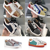 Mais recente Red Bottom Designer Sneakers Junior Spikes Mens Formadores versão glitter plana multi seavaste sapatilha Low Top sapatos de festa de casamento 13CL