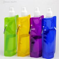 أحدث 480ML زجاجة ماء قابلة للطي زجاجة الرياضات المائية محمولة قابلة للطي DRINKWARE حقيبة المياه 500PCS / الكثير T2I078