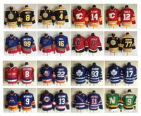Vintage Çocuklar Hokey Forması St. Louis Blues 99 Wayne Gretzky 16 Brett Hull Kam Neely Bruins 4 Bobby Orr 77 Ray Bourque 12 Jarome Iginla Gençlik