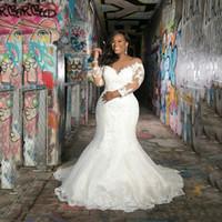 Mangas compridas personalizadas vestidos de casamento sereia 2020 plus size com apliques colher pescoço varrer treinar africano edifding vestidos de noiva