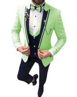 잘 생긴 민트 그린 망 양복 신랑 정장을위한 결혼식 정장을위한 정장을 착용하는 남자 슬림 한 버튼 하나의 버튼 블레이저 신랑 턱시도 턱시도 (자켓 + 조끼 + 바지)