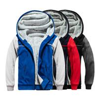 Herrenmode Warme Pullover Pelzfutter Sweatshirts Herbst-Winter-Thick Fleece Zipper Coats Male Patchwork Hoodies Street