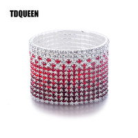 ashion Jewelry Bangles 12 Rows Red and Clear Crystal Combina...