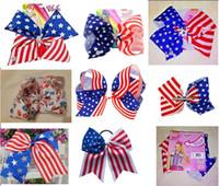 kız Saç Aksesuarları 12pcs çip / elastik bant ile Cheer Bow (Stars and Stripes) yay Temmuz 7inch jojo swia Amerikan Bayrağı saç YENİ 4TH /