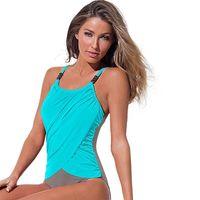 4XL Plus Size Swimwear Donne 1 pezzo di costume da bagno in costume da bagno Beach Beach 2017 Solid Monokini Large Dimensioni Vintage Retro Abiti da bagno MX200613
