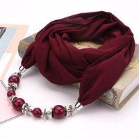 Printemps et automne nouvelle mode des femmes Pendentif Foulards Classique ethnique Perles Résine nationale en mousseline de soie ordinaire CCB enveloppe d'écharpe