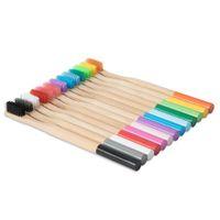 Coloré en bambou Brosse à dents Eco Friendly bambou Poignée souple poils environnement brosse à dents biodégradable