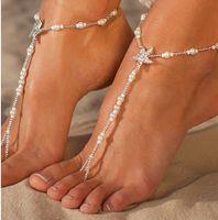 Plaj Düğün Takı Elastik Deniz Yıldızı İnciler Ayak Bileği Zincir Halhal Bayan Ayak Bileği Zincir Ayak Zinciri Yalınayak Sandalet