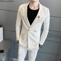 Thorndike Angel white Suit Men Costume Homme Marriage 2 Piec...