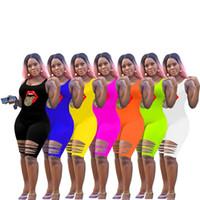 Mulheres Plus Size Tongue Macacões S-3XL rasgado macacãozinho Bodycon mangas Pescoço da colher Buraco Macacões cor sólida Shorts roupas de verão 2890