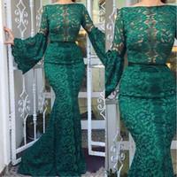 2020 Modeste Vert foncé Bateau cou de dentelle sirène robes de soirée à manches longues robe de bal femmes robe de bal Robe de Festa