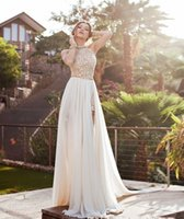 A- Line White Prom Dresses Halter Lace Pearls Chiffon High Sp...