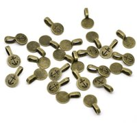 Bulk 500pcs/lot Antique bronze Round Glue on Bails/Glue Pads 18*10mm Jewelry Finding, Jewelry Making Supplies